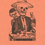 print of skeleton smoking cigar and drinking tequila with smaller skeleton peaking over shoulder
