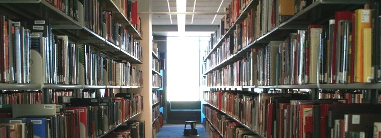 Photo of books at the Mary Idema Pew Library