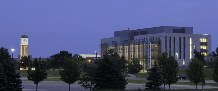 Mary Idema Pew Library at night