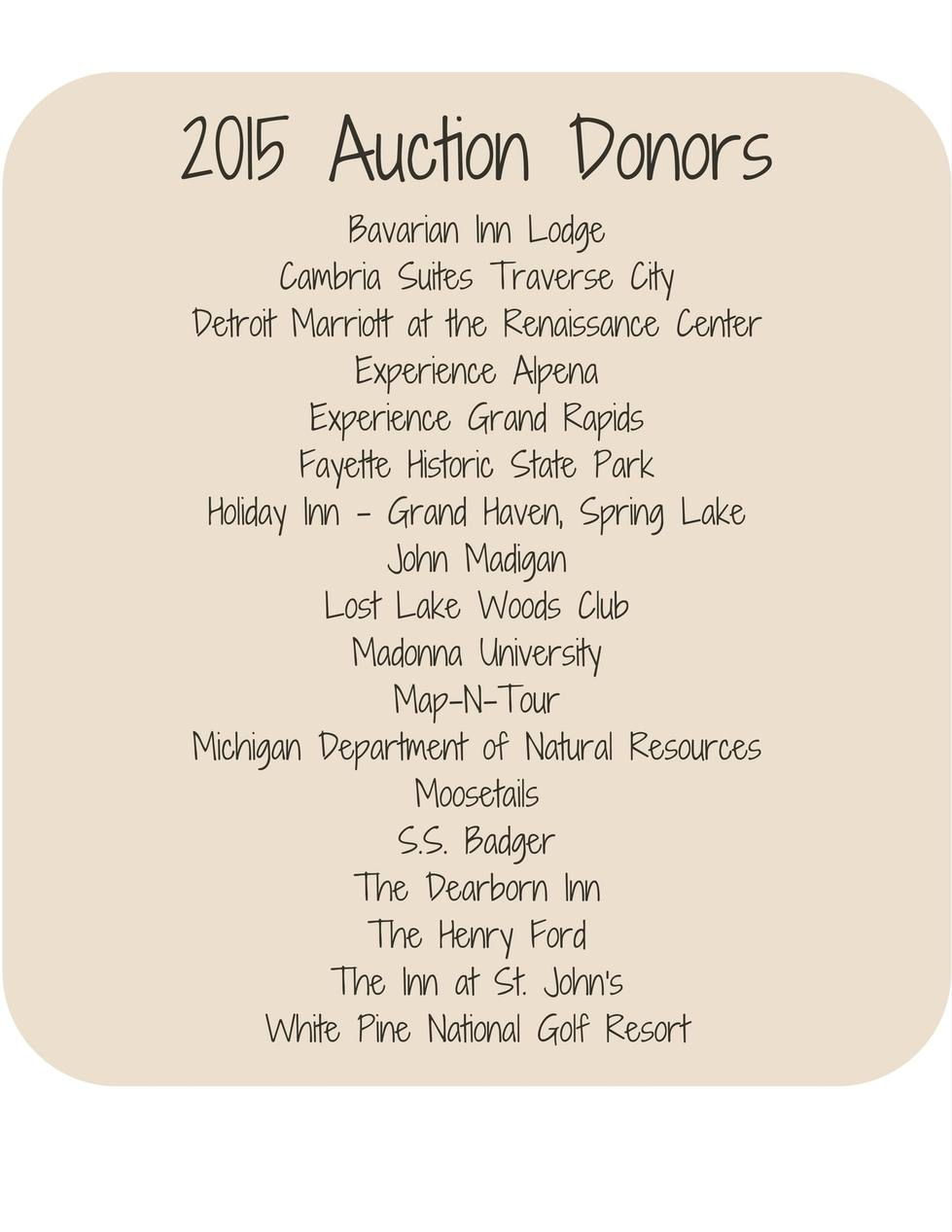2015 Auction Donors