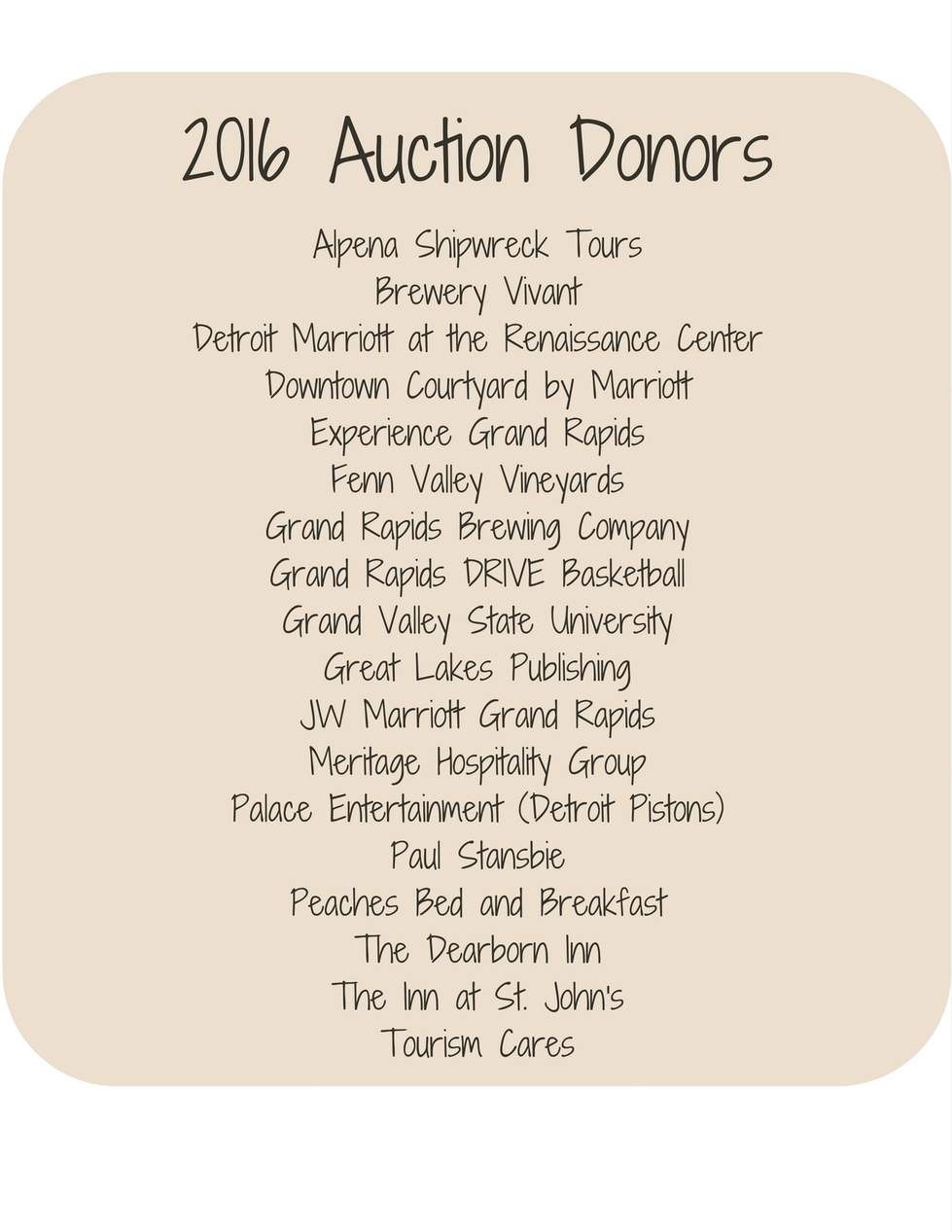 2016 Auction Donors