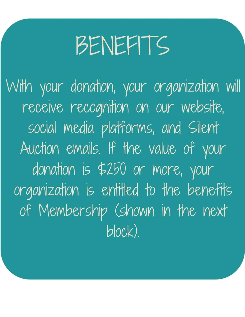 MC4T Silent Auction - Benefits