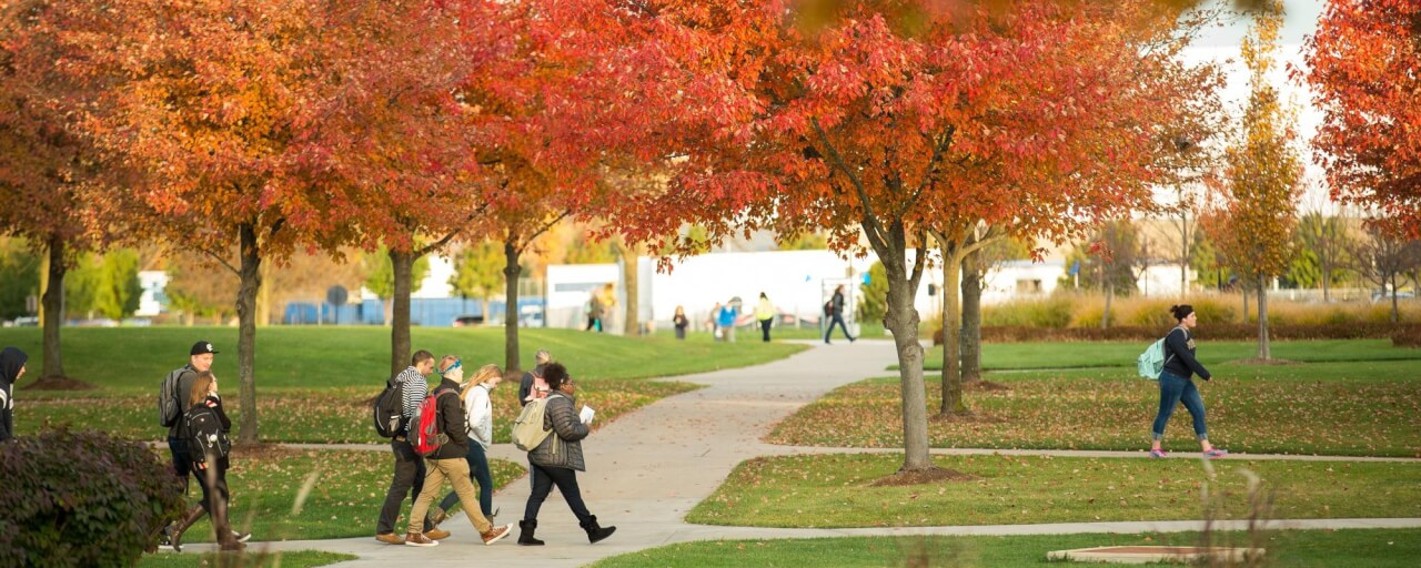 fall students walking