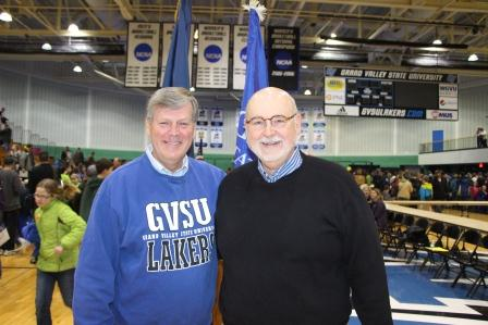 President Haas and Dean Antczak at the 2014 Region 12 Science Olympiad Tournament