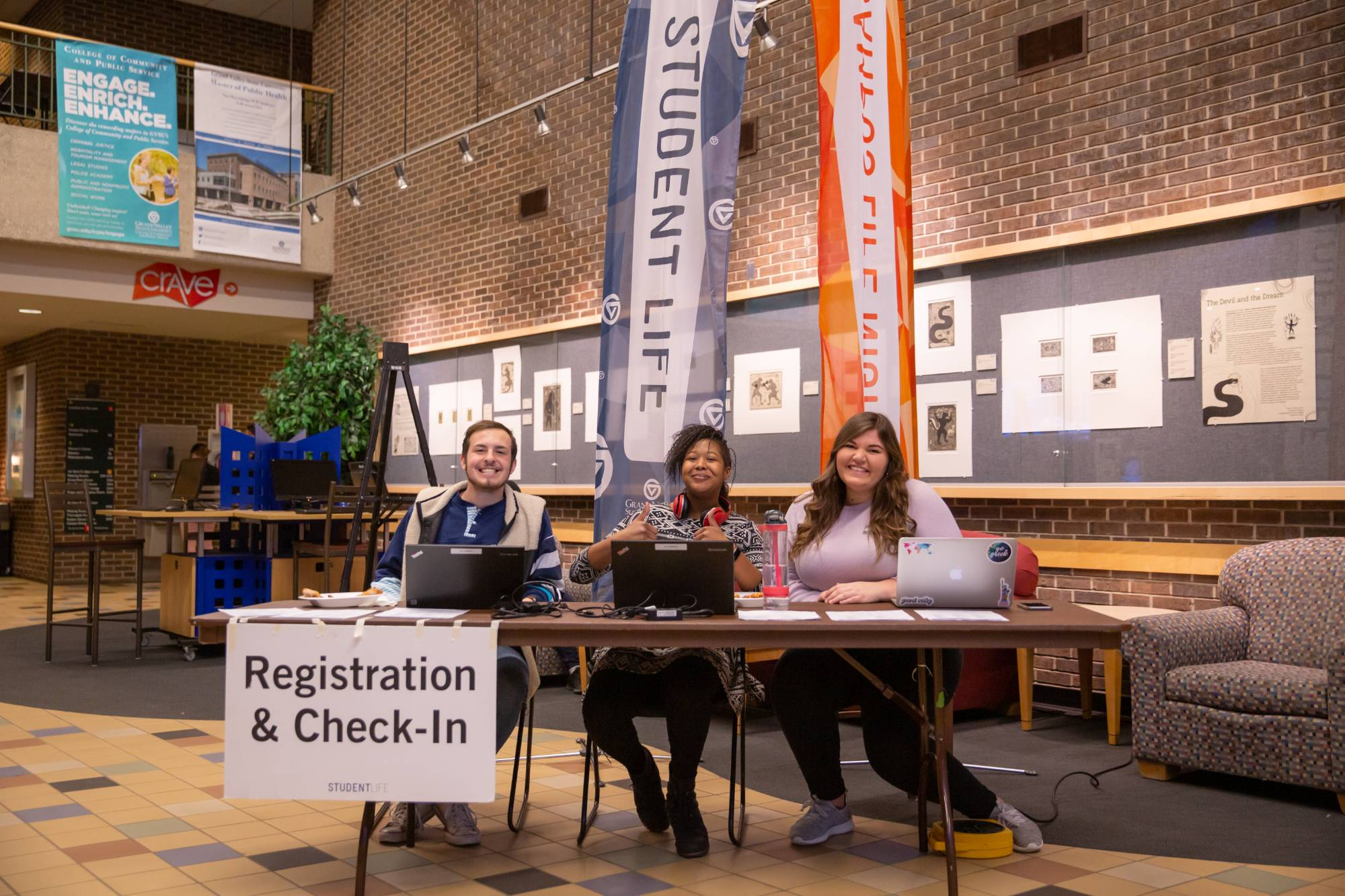 The registration booth at Campus Life Night.