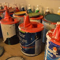 the paint cans they used at the event