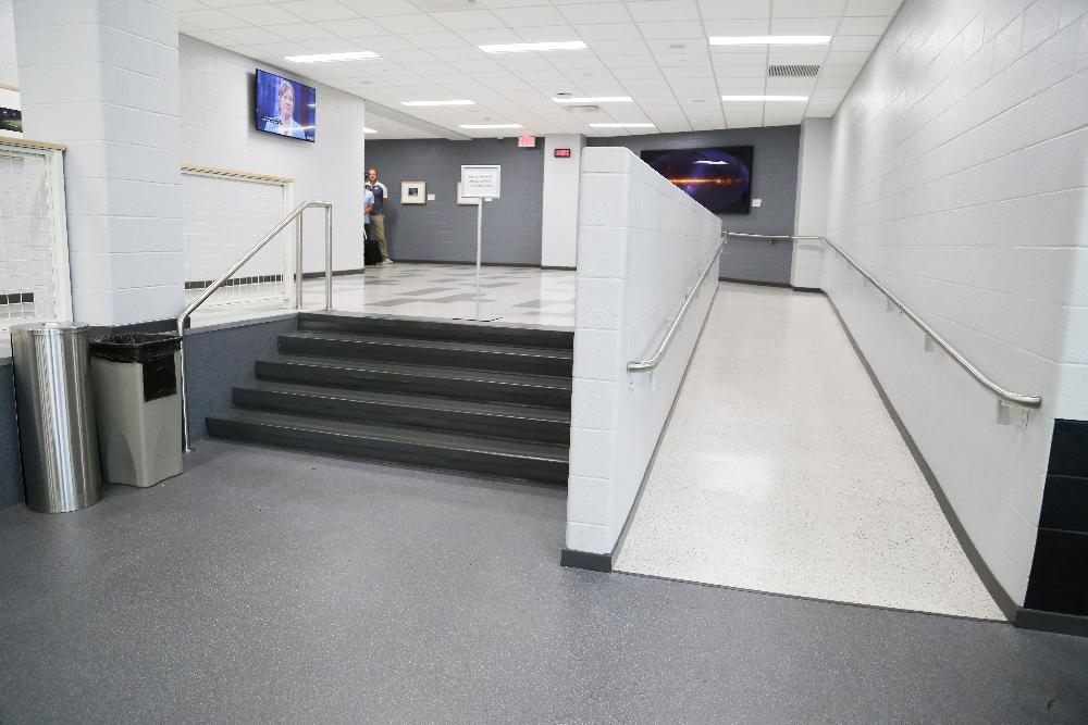 weight room ramp and stairs