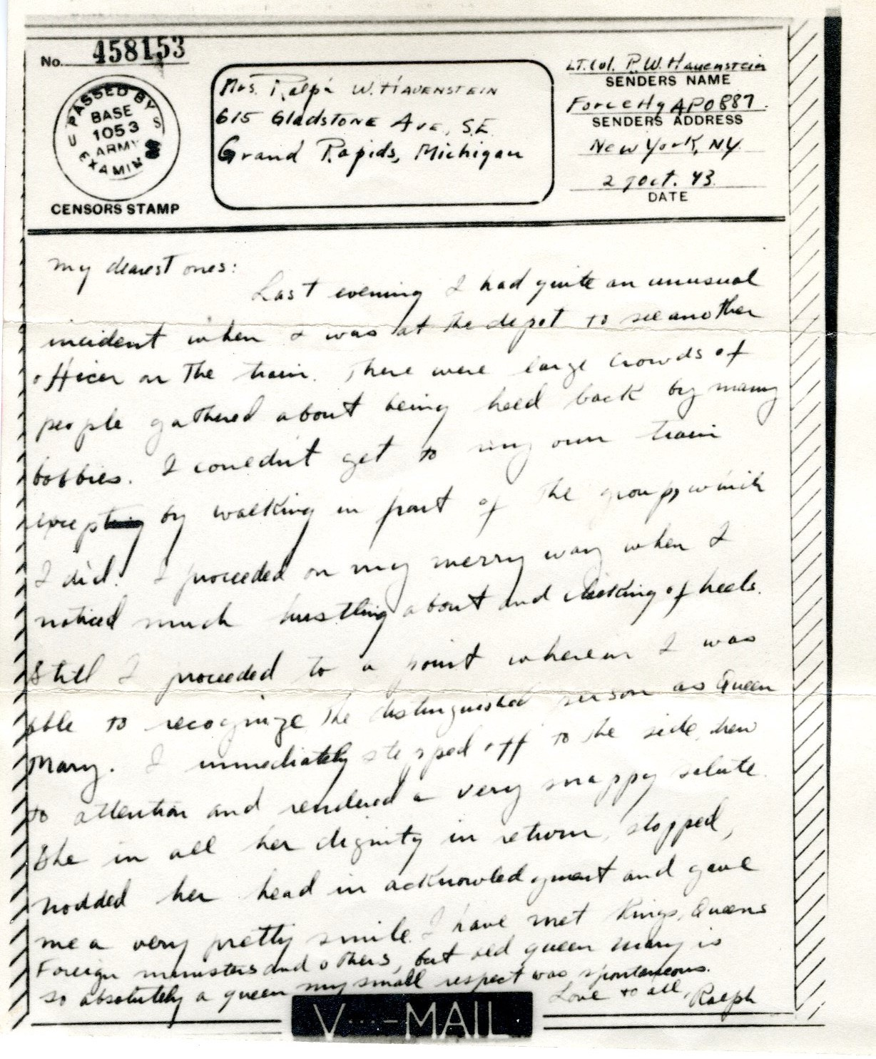 Letter from Ralph to family