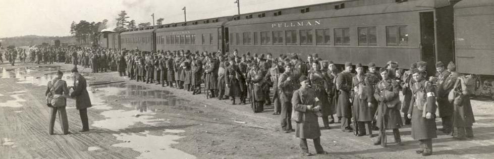Soldiers await departure from Camp Edwards, October 1942