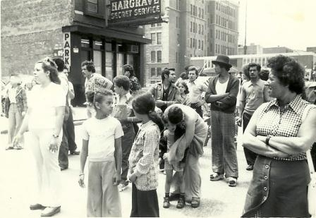 People gathered in the street in Chicago