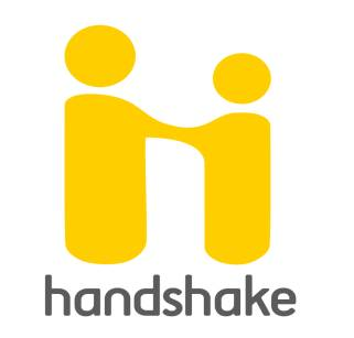 The Handshake logo. Two yellow stick figures shaking hands.