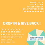 Drop In & Give Back! on August 24, 2019