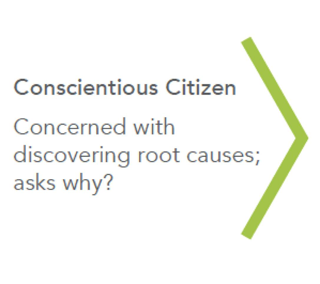 "The third step in the active citizen continuum. ""Conscientious Citizen, concerned with discovering root causes; asks why?"""
