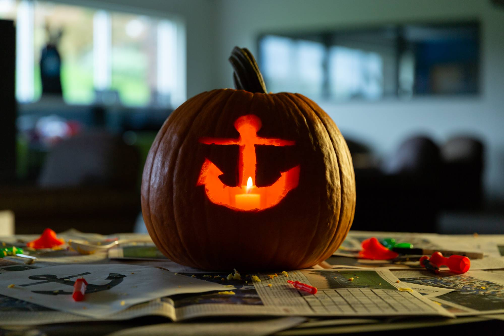 Pumpkin carved with anchor