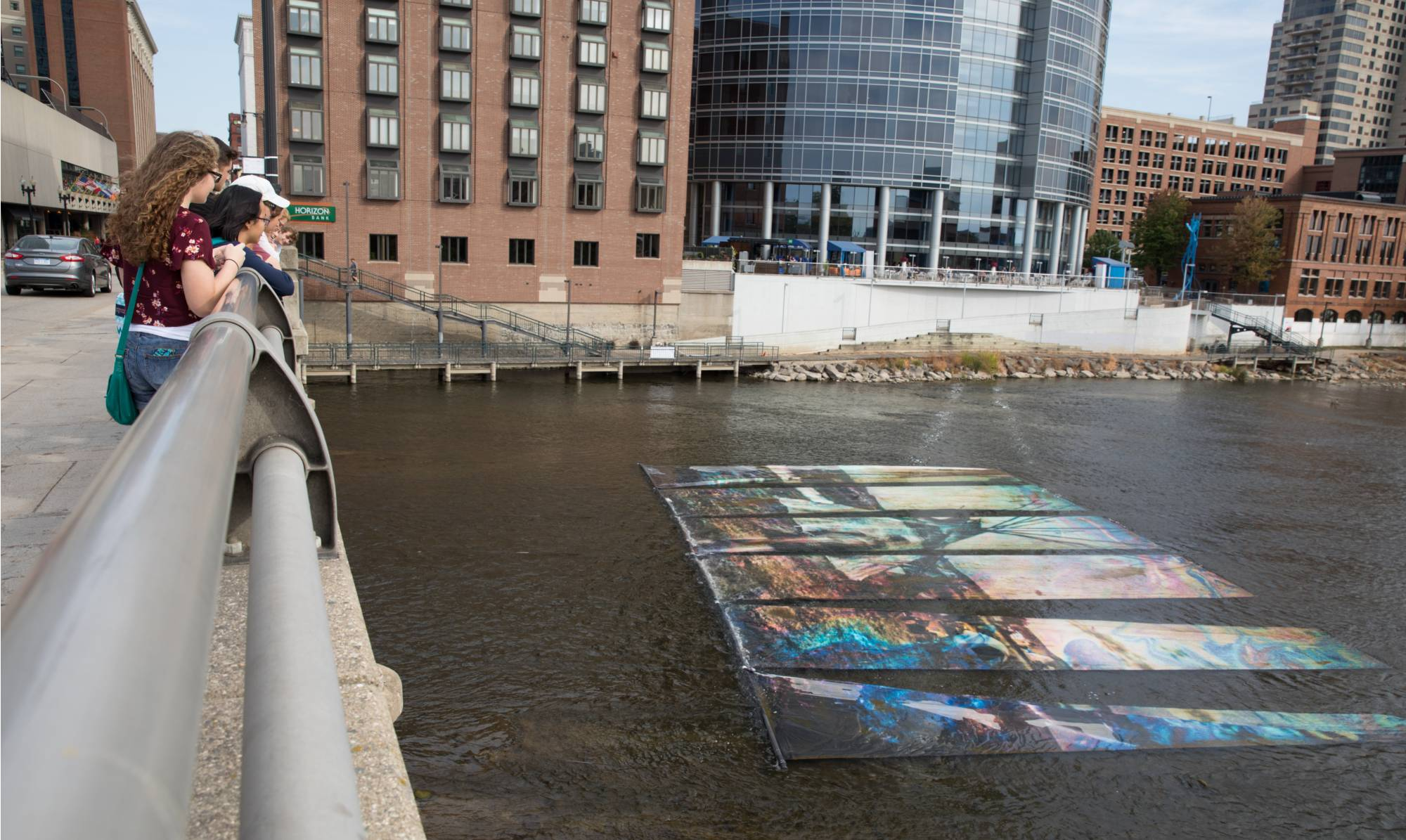 art prize display in the grand rapids river