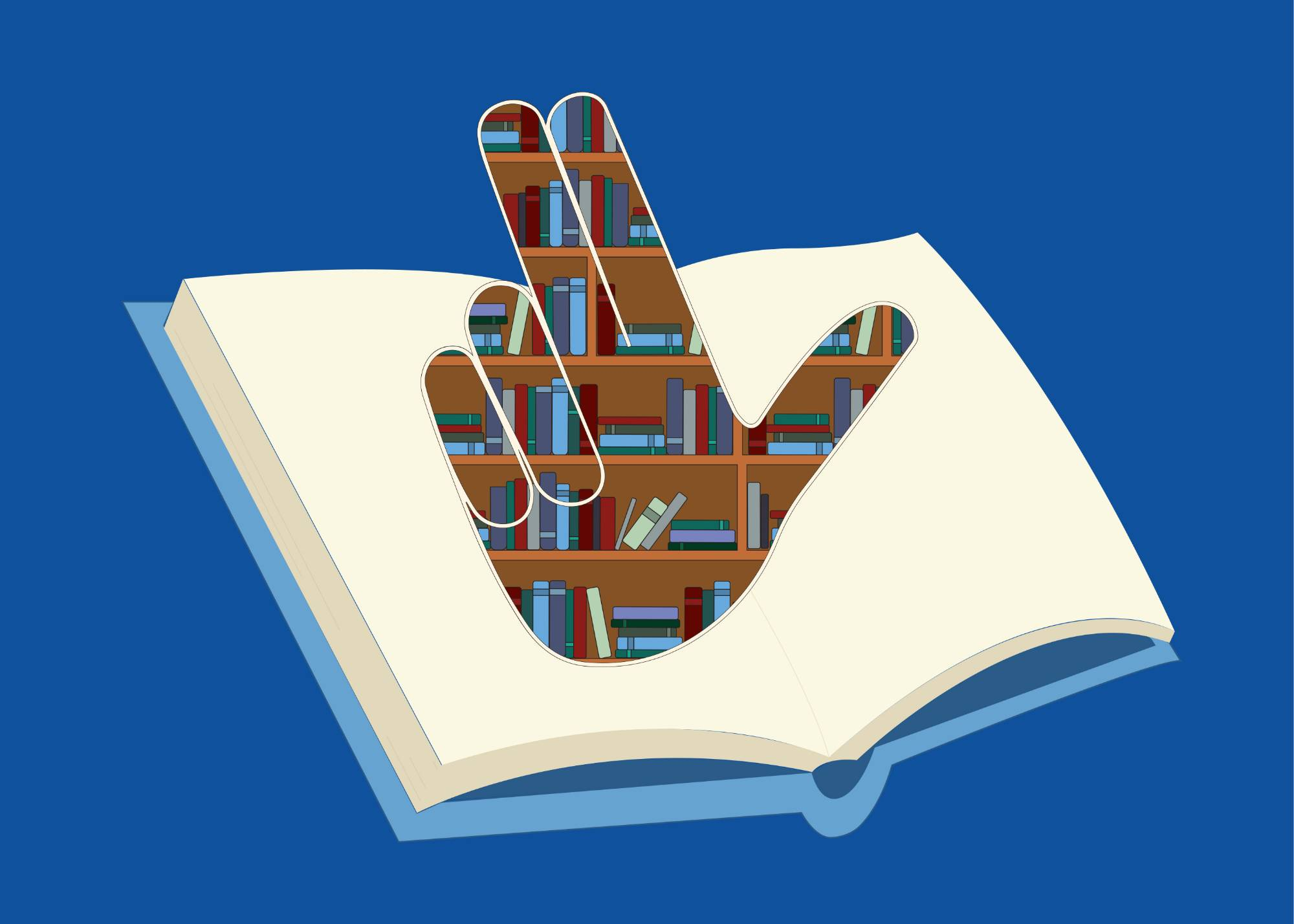 "The Family Weekend 2019 logo. The ""anchor up"" handsign made out of a bookshelf atop an illustration of an open book."
