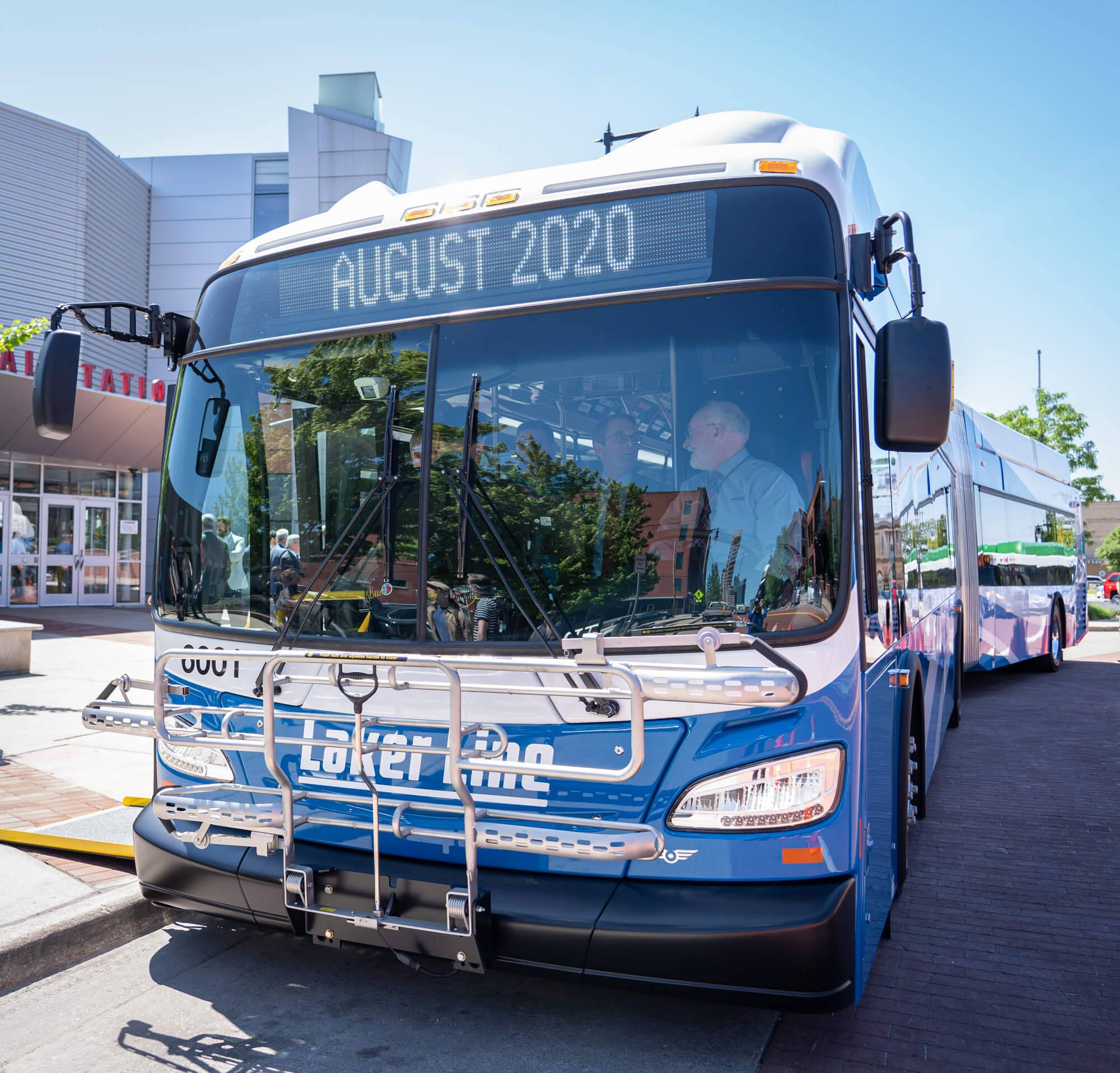 "The front of the Laker Line bus, the information sign says ""August 2020""."