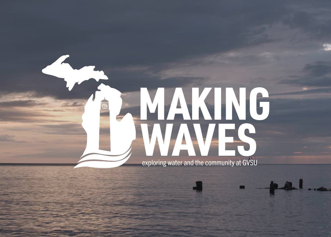 The Making Waves Initiative logo superimposed on a lake at sunset.