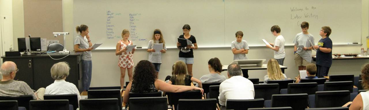 Students read their writings at a Laker Writing Camp.