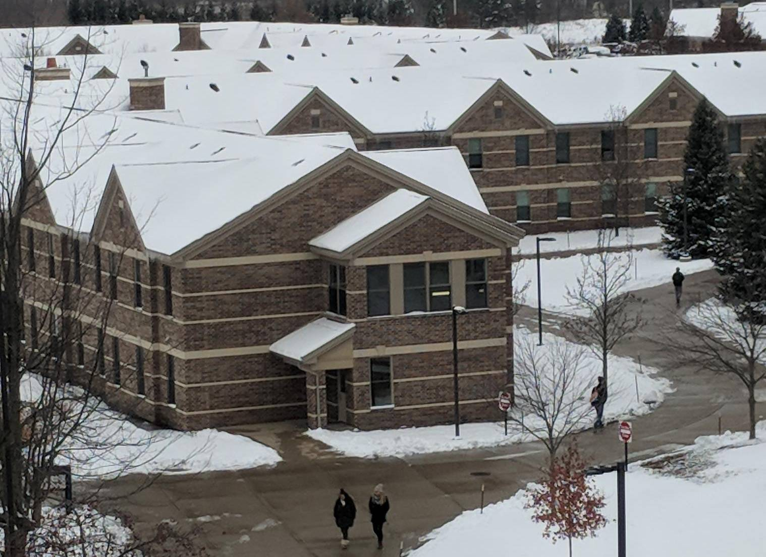 Snow on the living center roofs