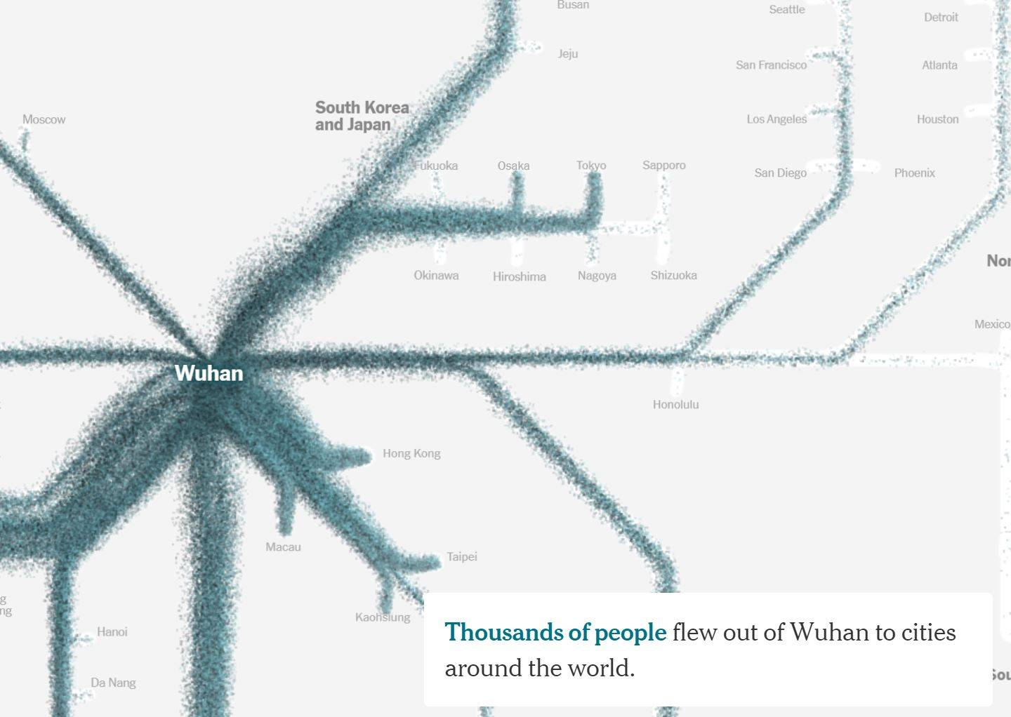 Screenshot from NY Times article showing flow of virus out of Wuhan to the rest of the world