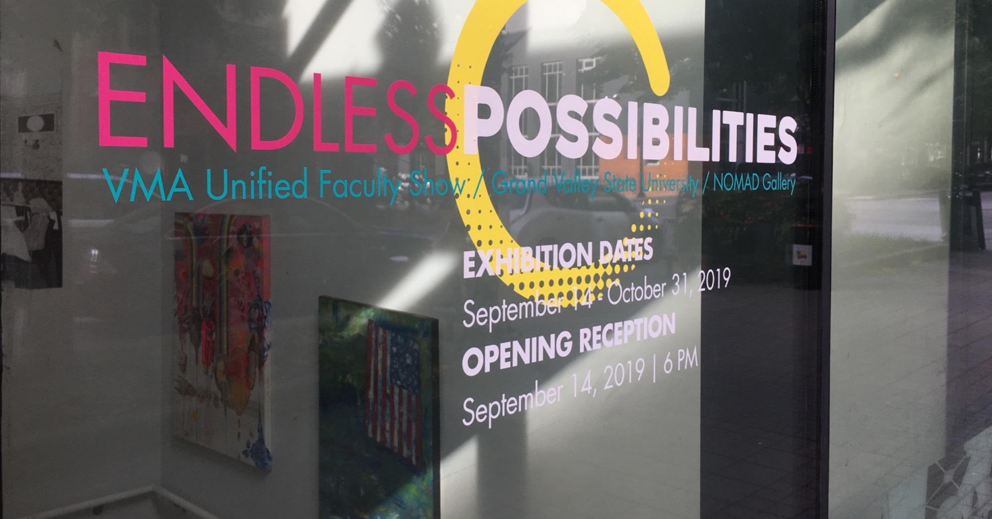 Endless Possibilities sign on door of Nomad Gallery