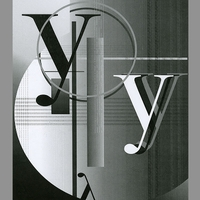 "Black and white image with a number of the letter ""y"""