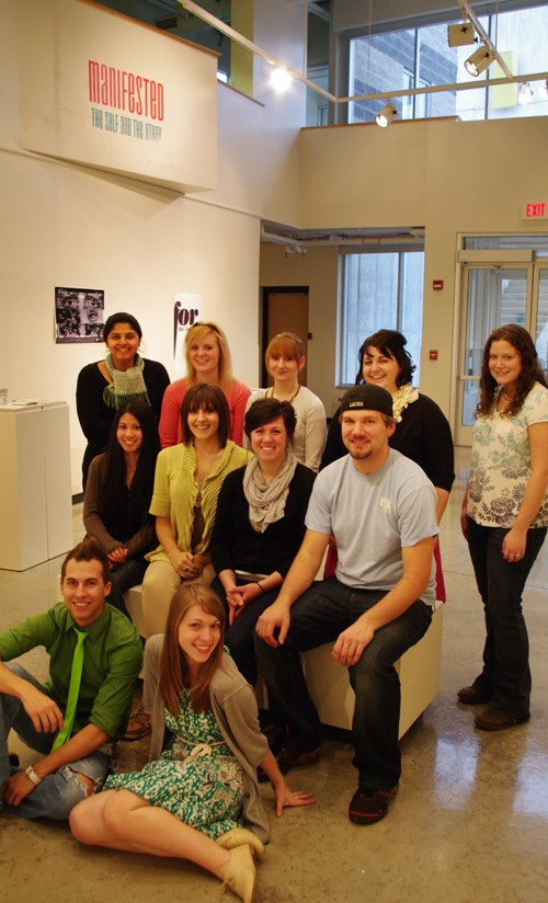Group photograph at the conclusion of gallery event of student work