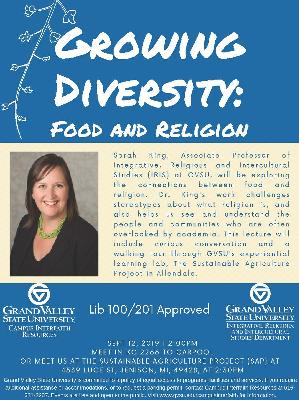 Sarah King will be presenting on Food and Religion