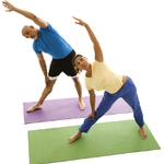 two people practicing yoga
