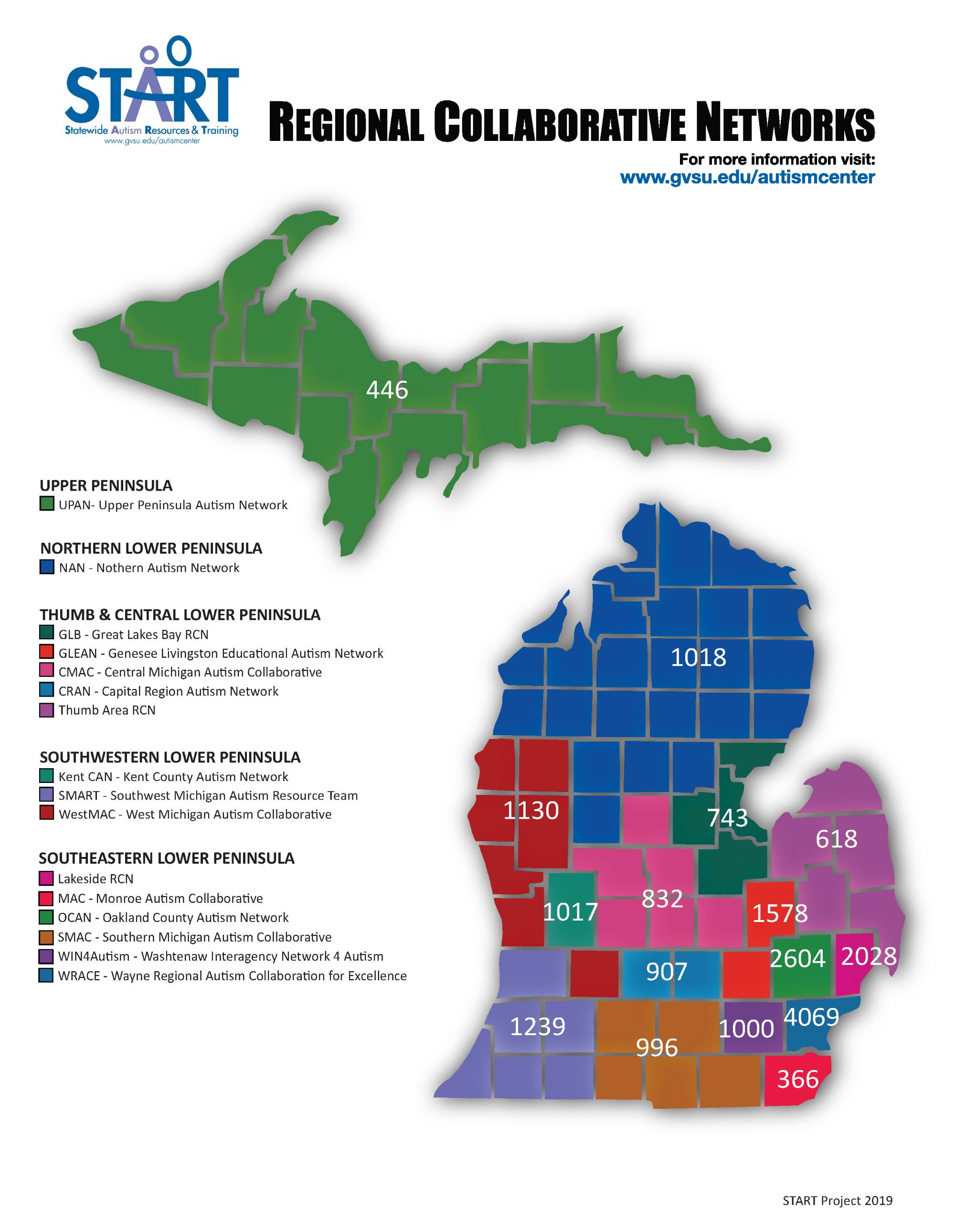 Map of Michigan with Students with ASD per RCN