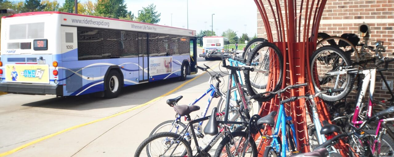 bus image w group of bikes in foreground