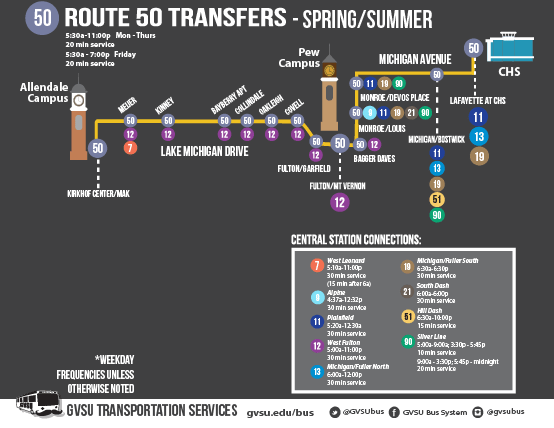 Bus Route 50 - GVSU Campus Connector Weekday - GVSU