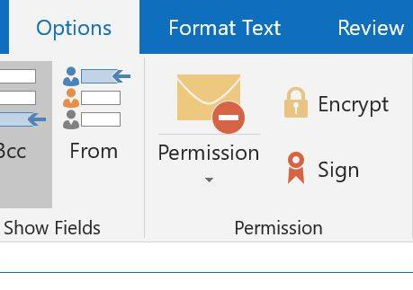 Outlook option to secure emails