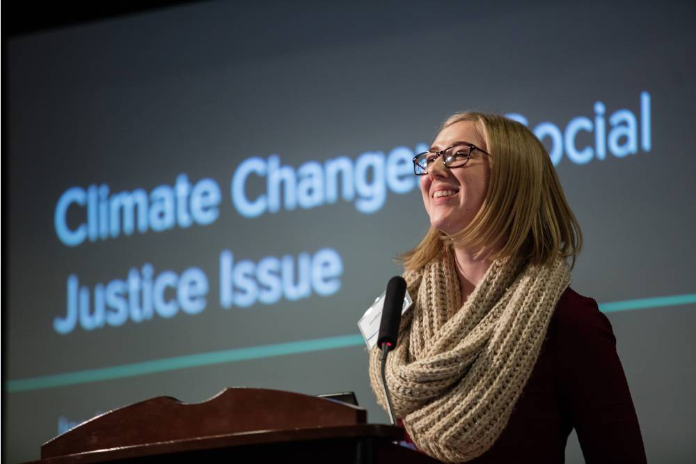 Jordan Chrispell, West Michigan Clean Energy Organizer for the Sierra Club's Michigan Chapter, speaks about climates change and social justice.