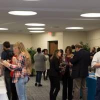 Students interact with faculty and staff at the student resource fair