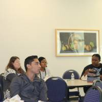 Students and faculty learning about opportunities for students to study abroad