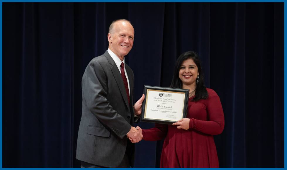 Richa Bhurtel, Master of Business Administration, receiving a Dean's Citation Award
