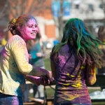 HOLI 2016 two students laughing