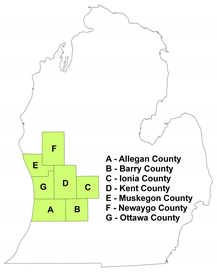 Map of Allegan, Barry, Ionia, Kent, Muskegon, Newaygo, and Ottawa counties