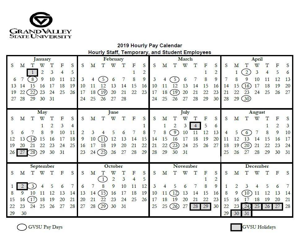 Payday Calendar 2020 Pay and Holiday Calendars   Payroll Office   Grand Valley State