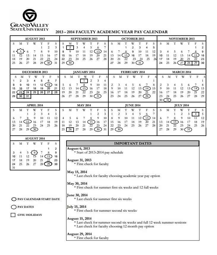 Faculty Pay Calendar