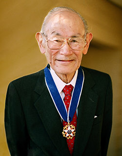 Fred T. Korematsu with his Presidential Medal of Freemdom, 1998.  Picutre by Shirley Nakao