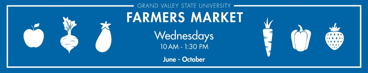 Farmers Market is on Wednesdays from 10 AM to 1:30 PM from June through October