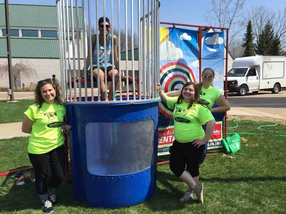 Students with a water dunk tank