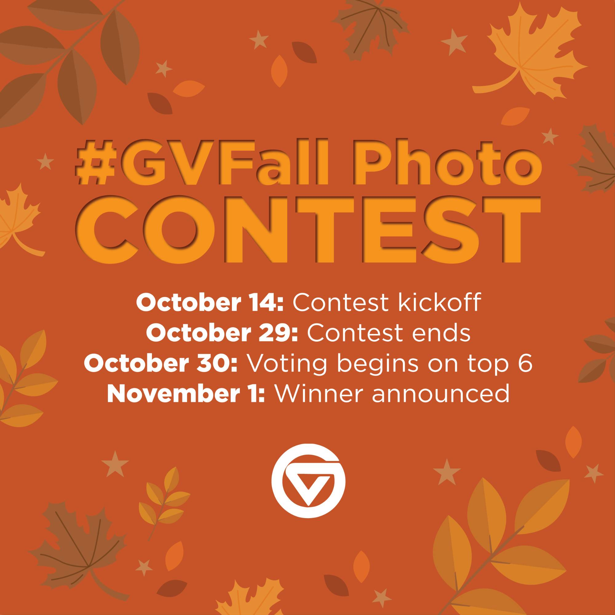 "A graphic that reads ""GV Fall photo contest"" with the kickoff date October 14"