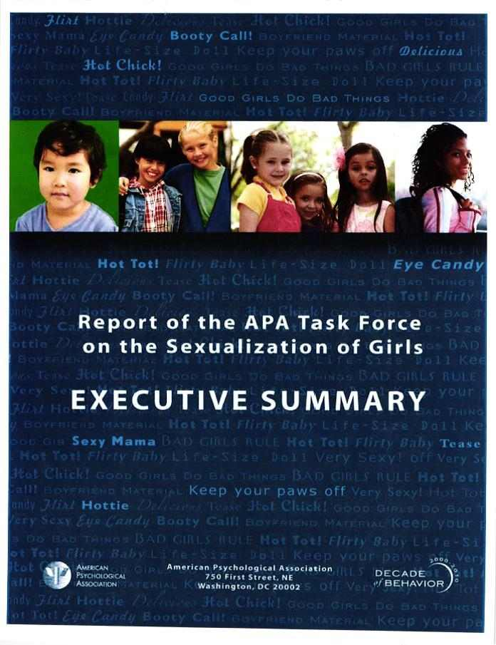 Apa task force sexualization of culture