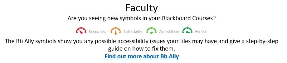 The Bb Ally symbols show you any possible accessibility issues your files may have and gives a step-by-step guide on how to fix them.