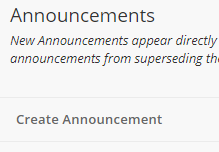Create Announcement button