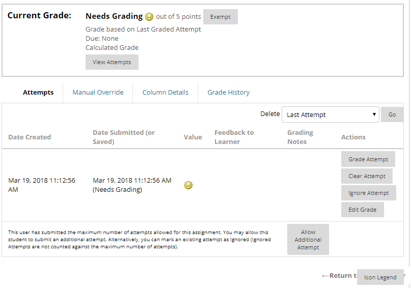Grade details screen where instructors can view student submission attempts
